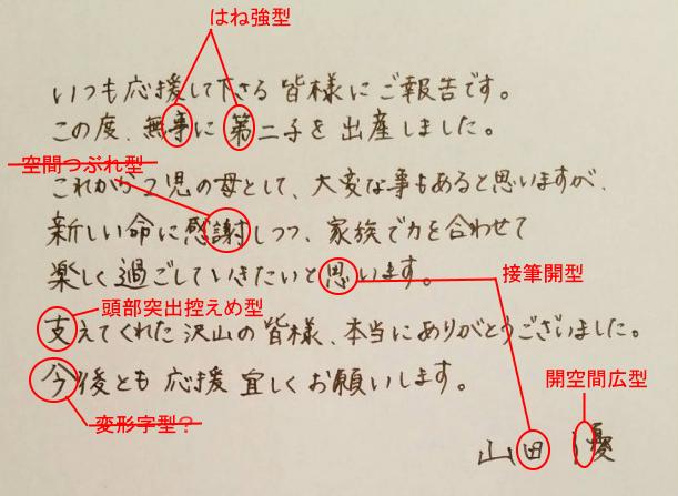 山田優さんの筆跡診断