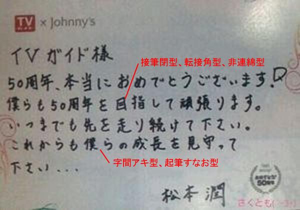 松本潤さんの筆跡診断